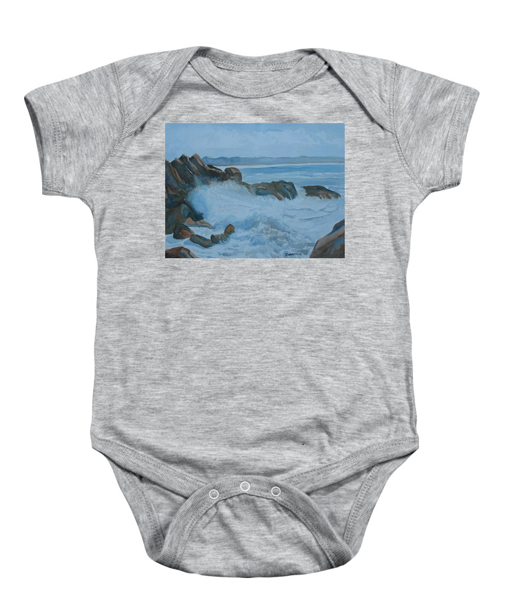 Breakers Baby Onesie featuring the painting The Breakers Below Yaquina Head I by Jenny Armitage