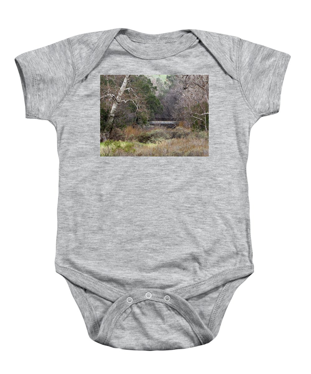 Landscape Baby Onesie featuring the photograph The Bridge by Karen W Meyer