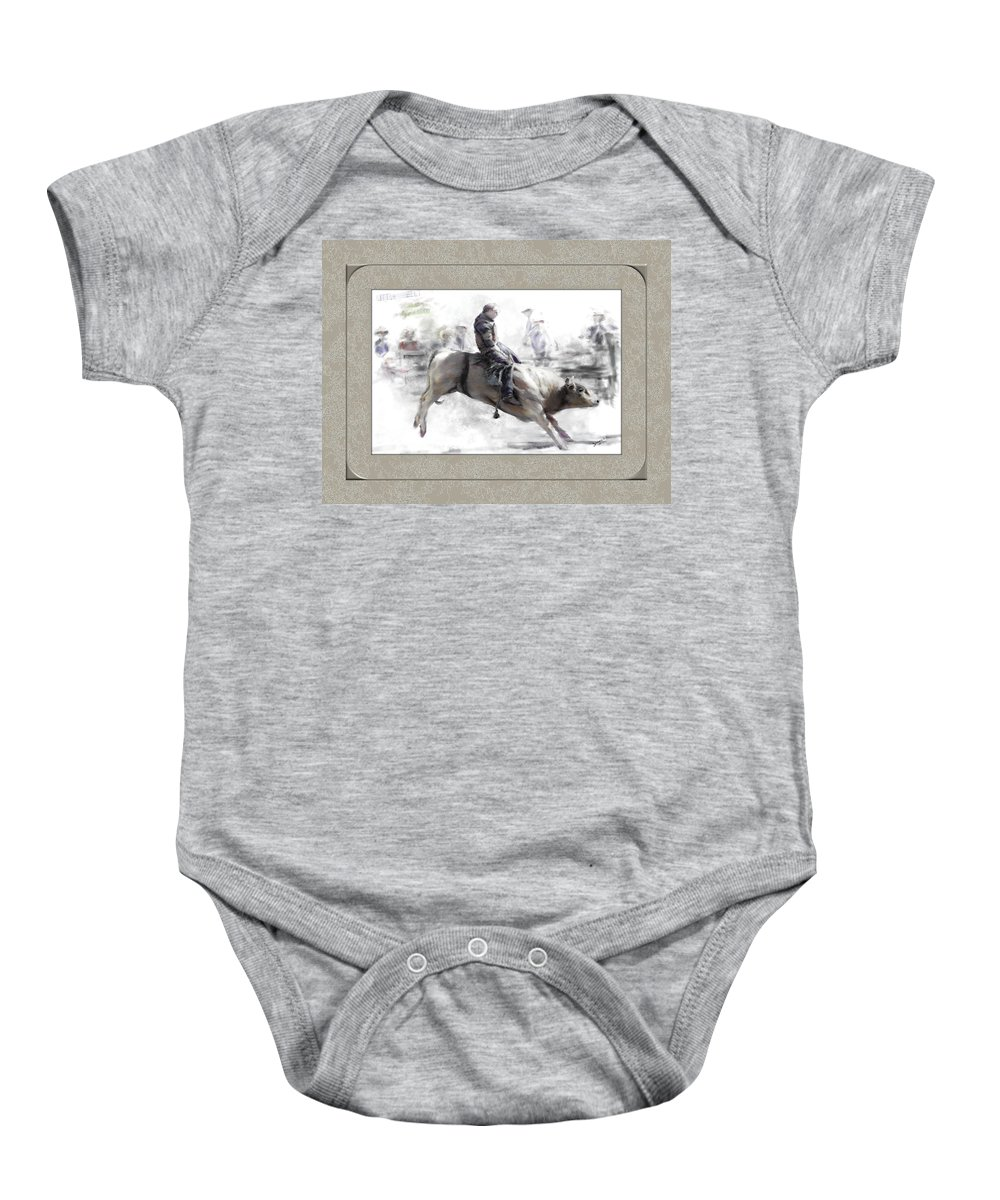 Bull Rider Baby Onesie featuring the painting The Bull Rider by Susan Kinney