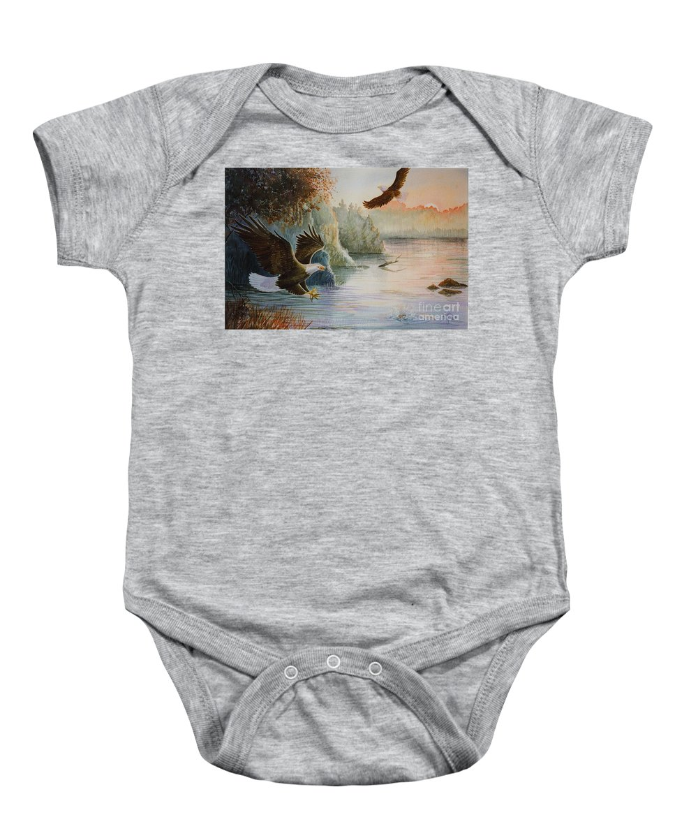 Eagles Baby Onesie featuring the painting The Catch by Marilyn Smith