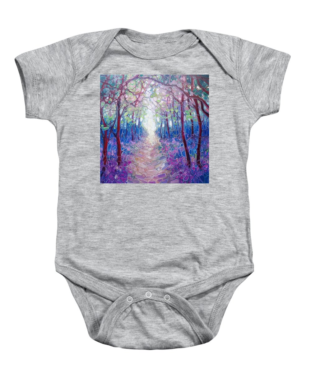 Blubell Woods Baby Onesie featuring the painting The Chaos And Hope Of Spring by Gill Bustamante