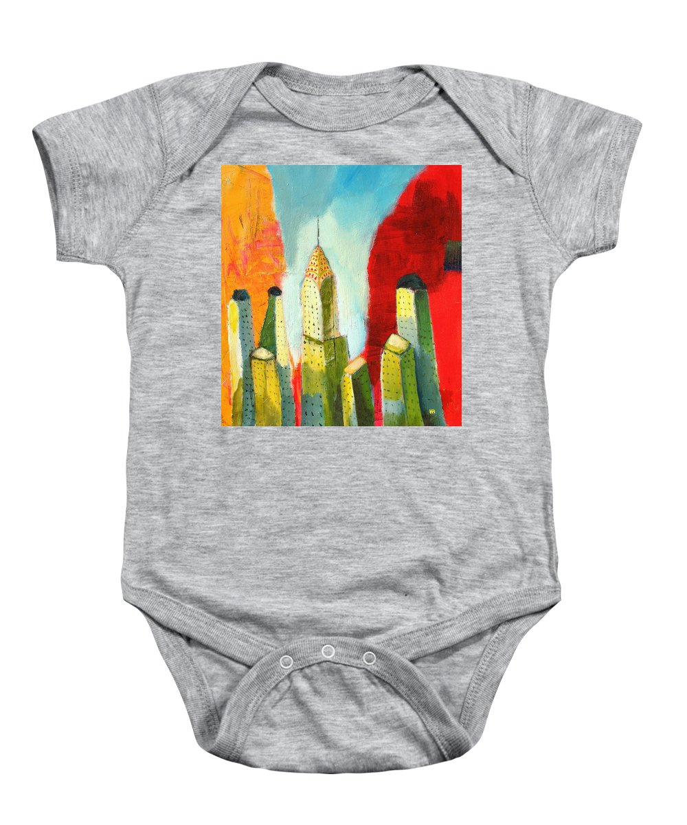 Abstract Cityscape Baby Onesie featuring the painting The Chrysler In Colors by Habib Ayat
