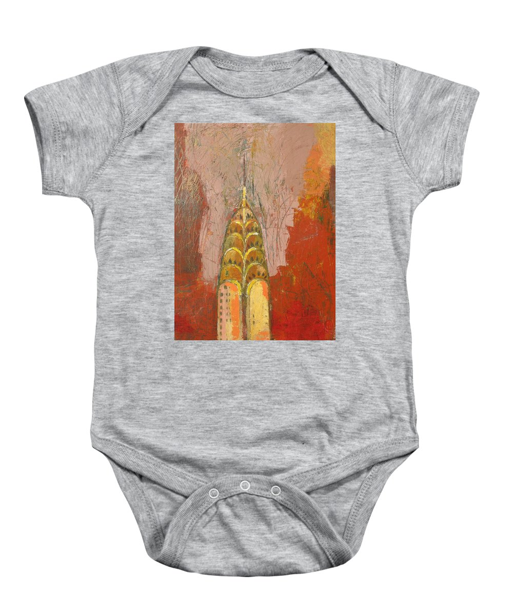Abstract Cityscape Baby Onesie featuring the painting The Chrysler In Motion by Habib Ayat