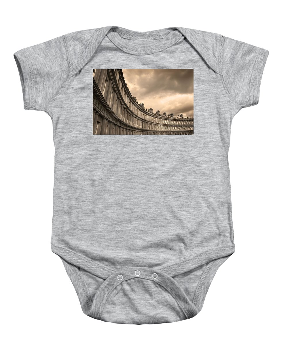 Bath Baby Onesie featuring the photograph The Circus Bath England by Mal Bray