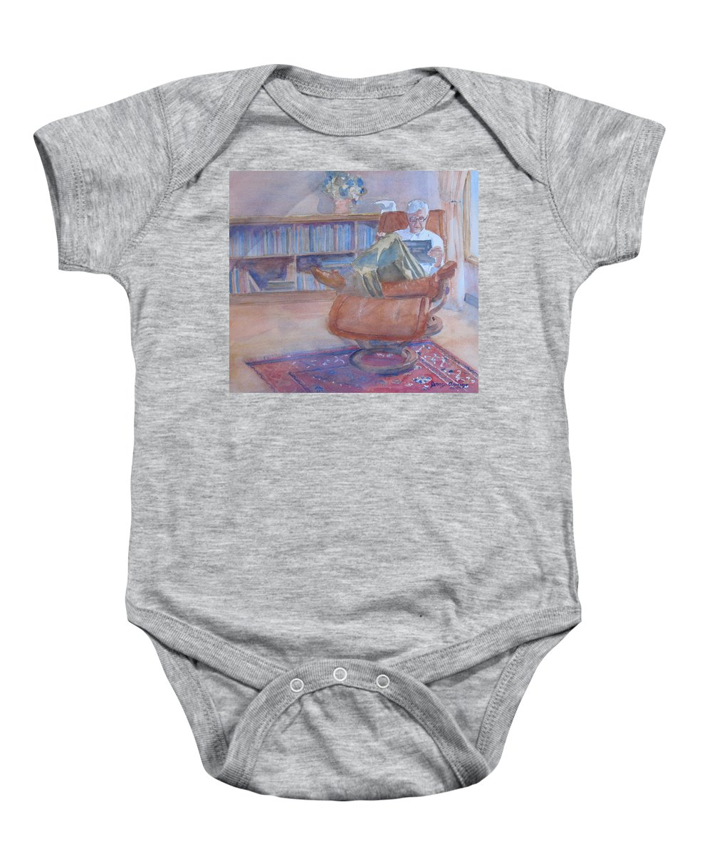 Man Baby Onesie featuring the painting The Civilized Engineer by Jenny Armitage