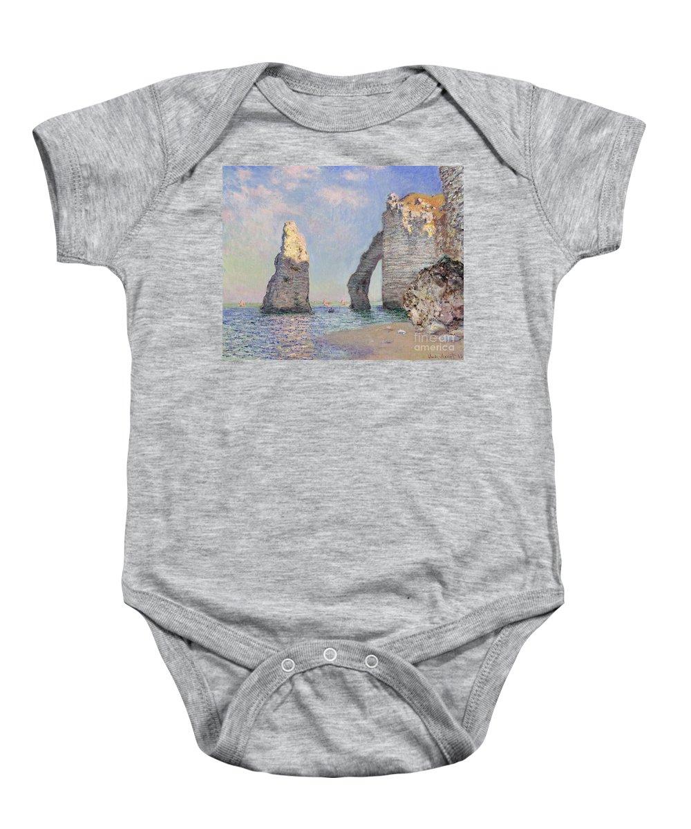 The Cliffs At Etretat Baby Onesie featuring the painting The Cliffs At Etretat by Claude Monet