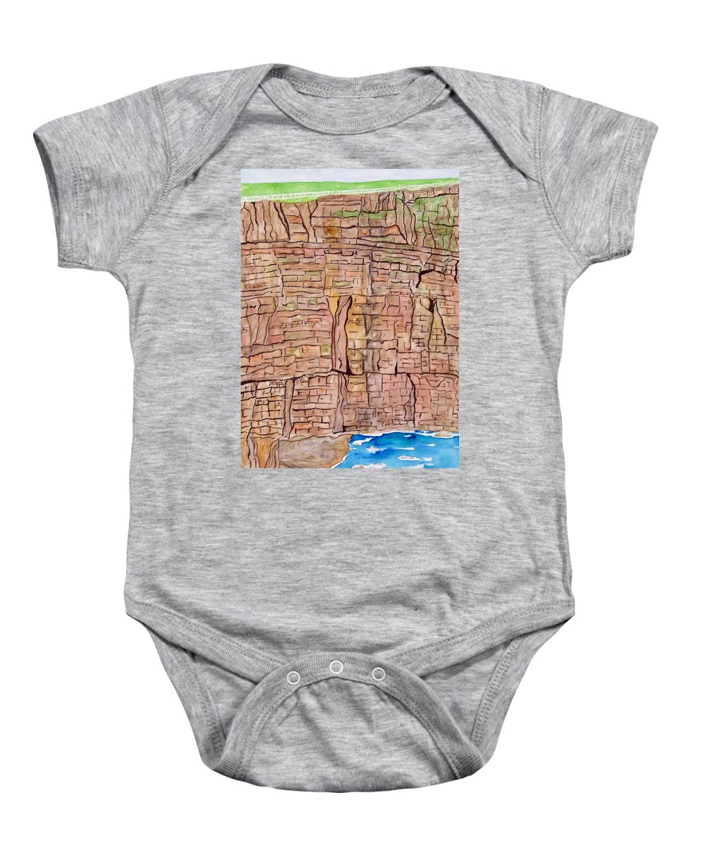 Ireland Art Baby Onesie featuring the painting The Cliffs Of Mohr In Ireland by Larry Wright