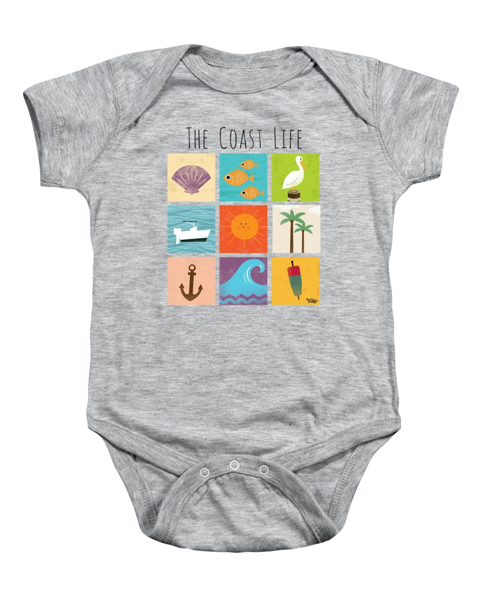 Ocean Baby Onesie featuring the digital art The Coast Life by Kevin Putman