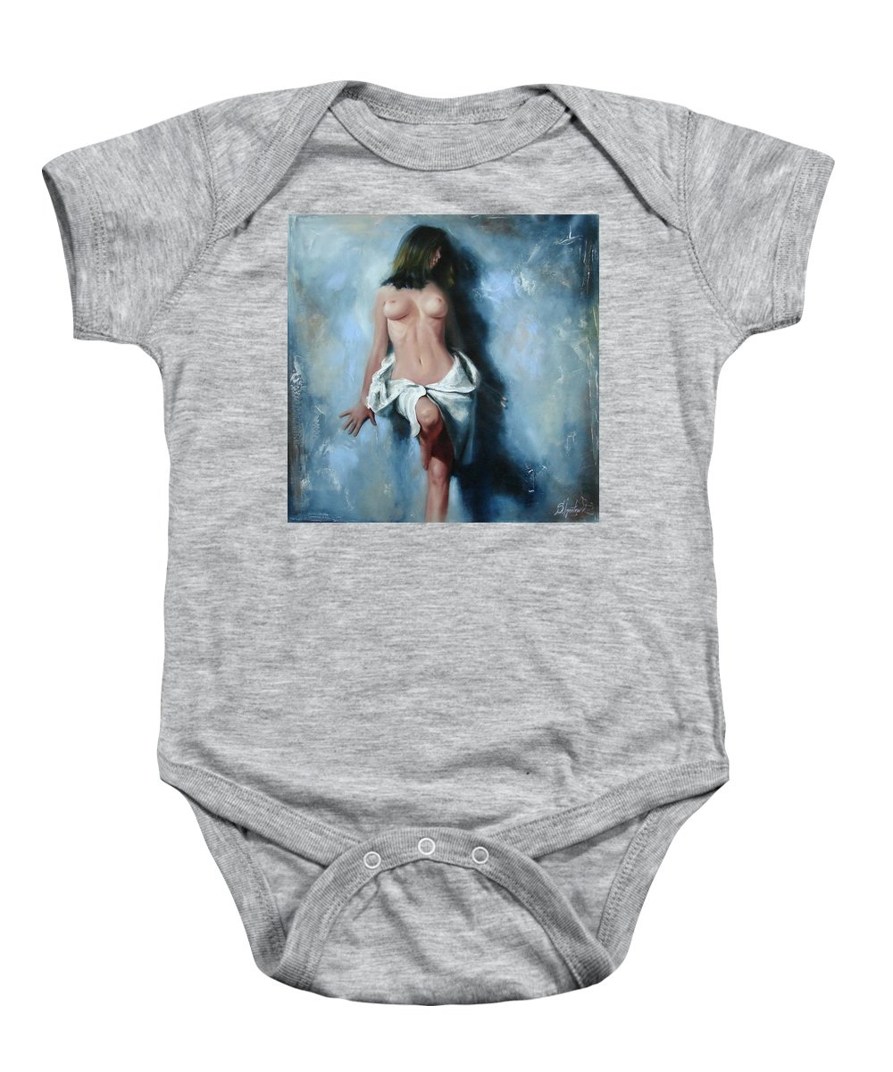 Oil Baby Onesie featuring the painting The Cold Senses by Sergey Ignatenko