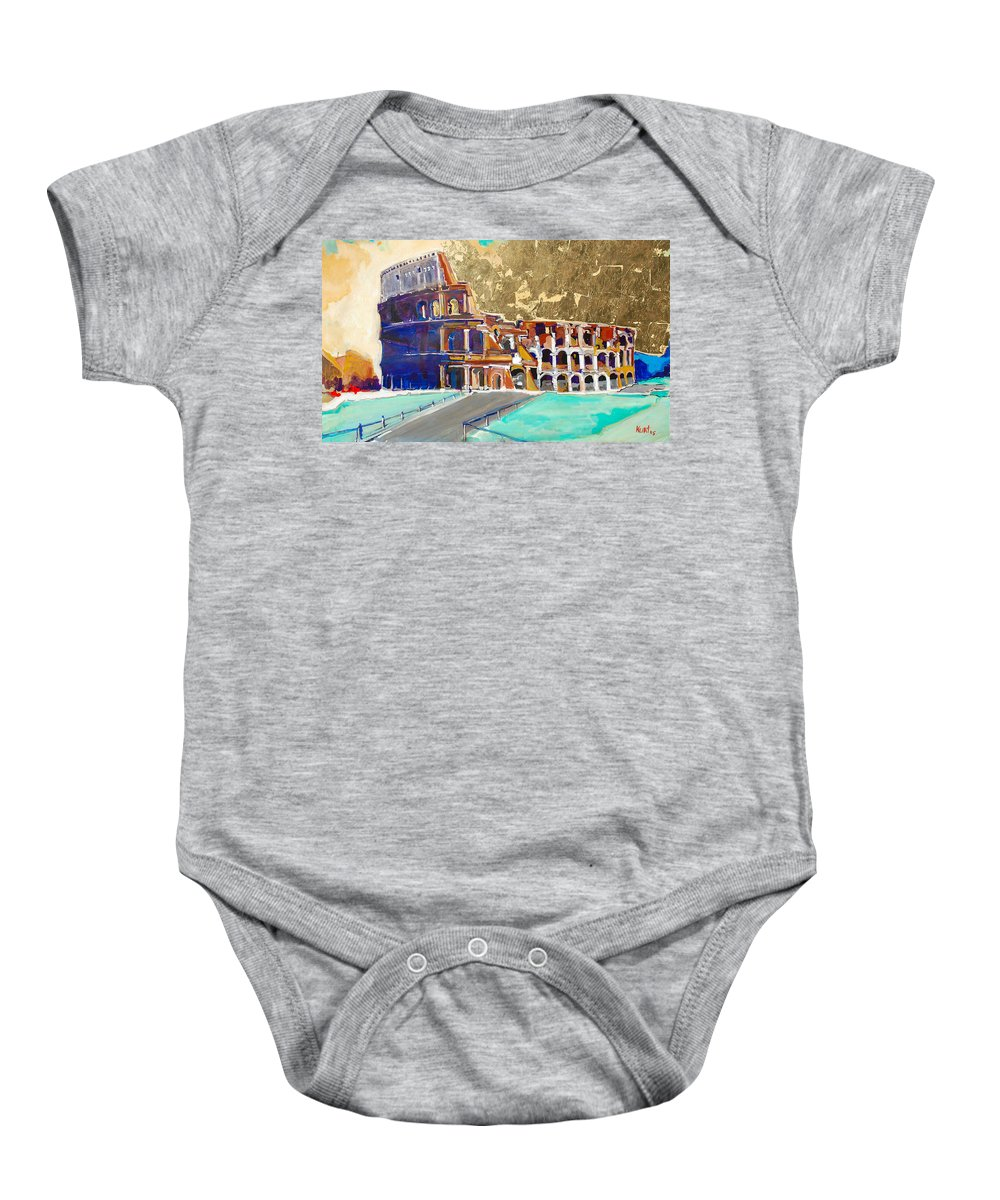 Colosseum Baby Onesie featuring the painting The Colosseum by Kurt Hausmann