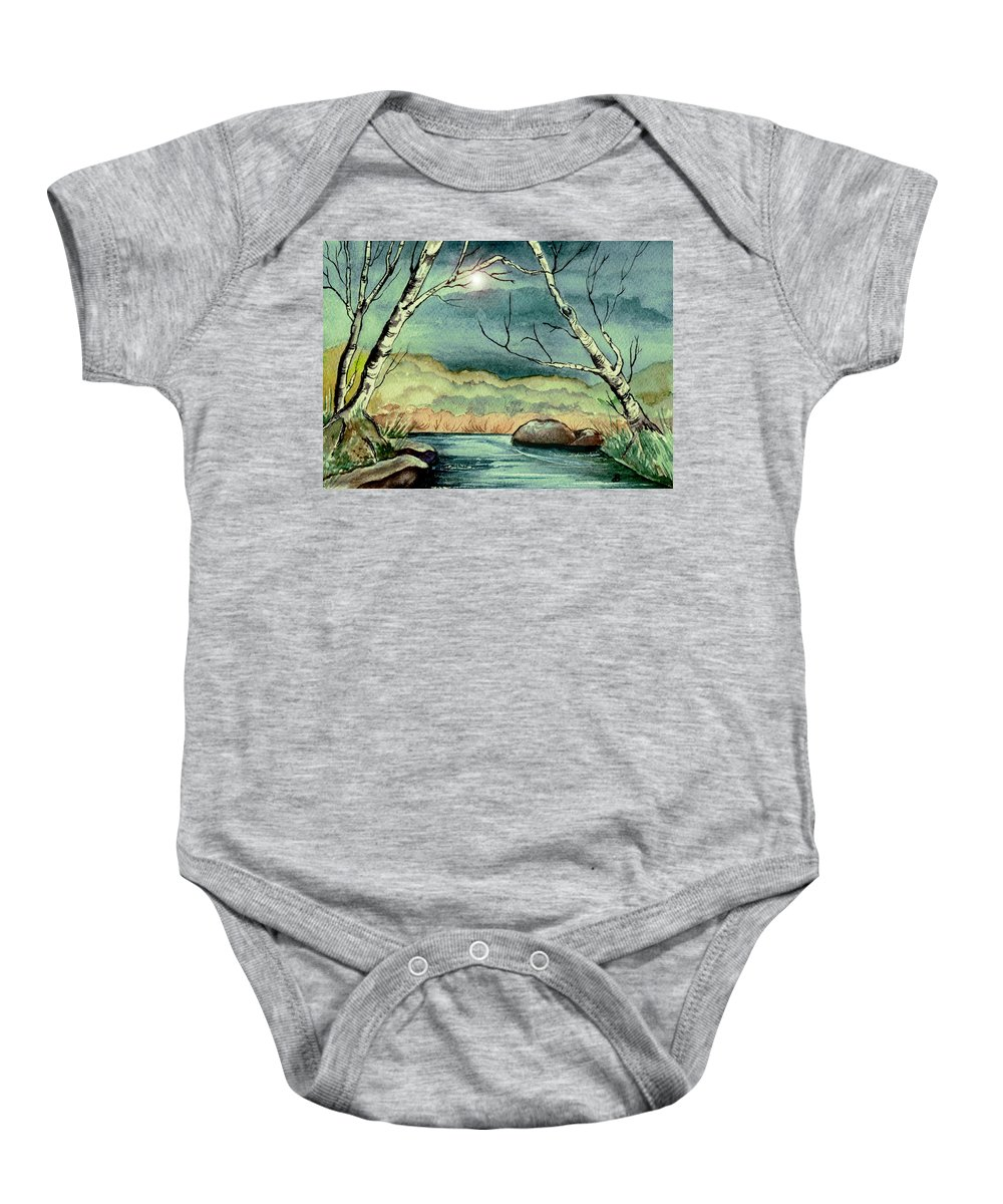 Watercolor Baby Onesie featuring the painting The Coming Storm by Brenda Owen