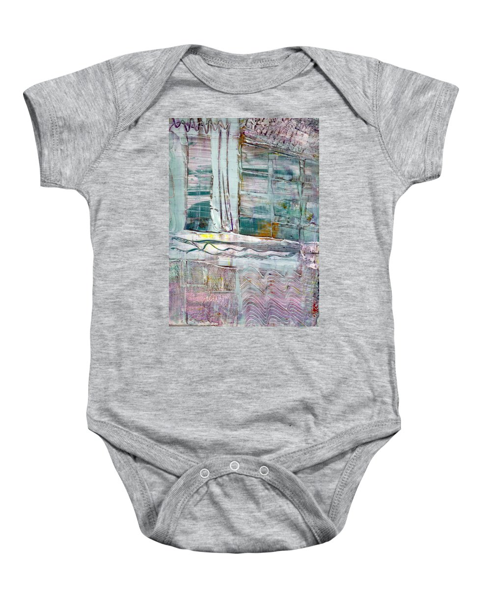 Abstract Baby Onesie featuring the painting The Corner Window by Wayne Potrafka