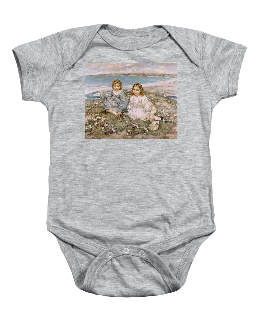 The Baby Onesie featuring the painting The Daughters Of Bertram Roberts by Edward Atkinson Hornel