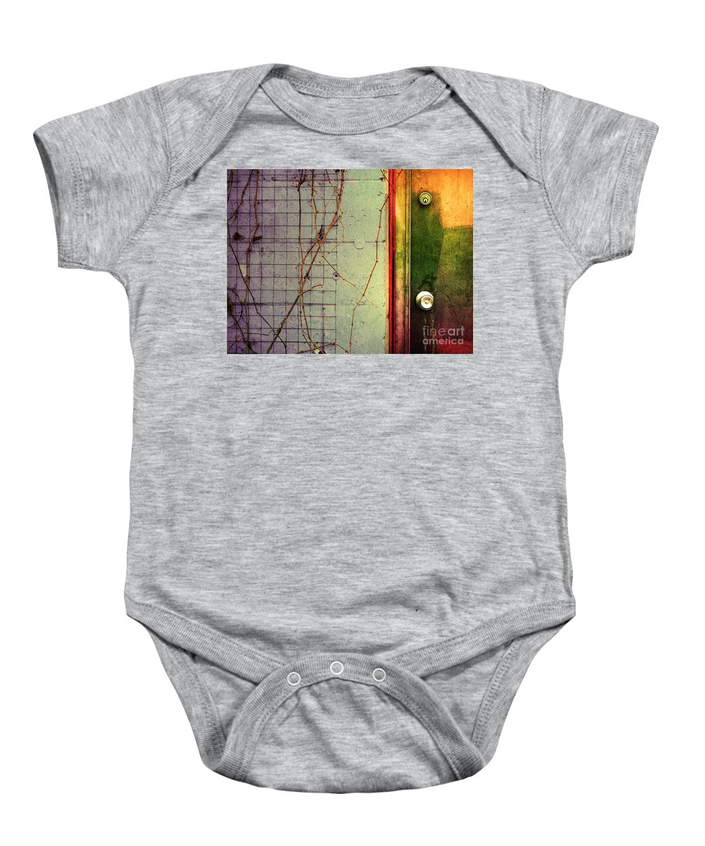 Weeds Baby Onesie featuring the photograph The Door The Wall And The Weeds by Tara Turner
