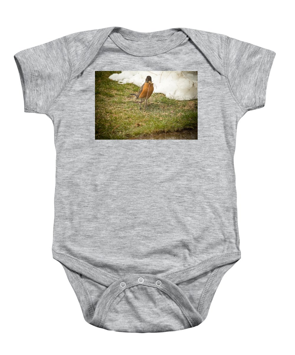 Robin Baby Onesie featuring the photograph The Early Bird - Robin - Casper Wyoming by Diane Mintle