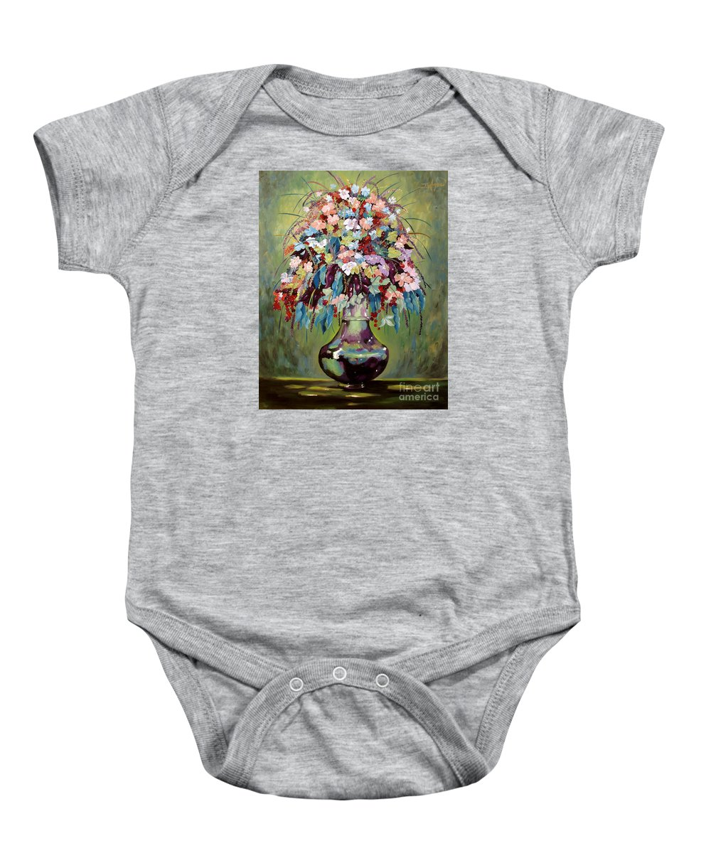 Still Life Baby Onesie featuring the painting The Empty Vase by Milagros Palmieri