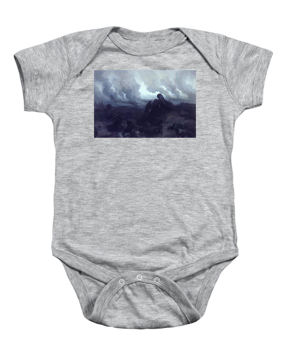 The Baby Onesie featuring the painting The Enigma 1871 by Dore Gustave
