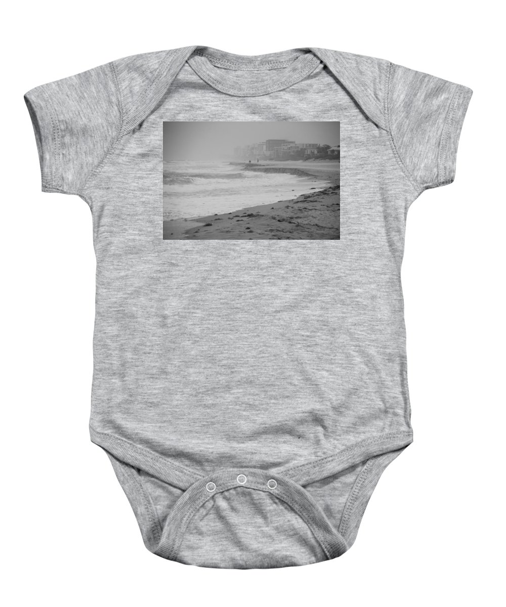 Black And White Baby Onesie featuring the photograph The Eroded Coast by Rob Hans