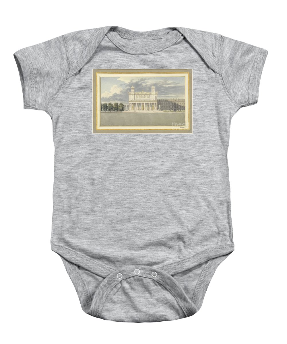 Baby Onesie featuring the drawing The Fa?ade And Suroundings Of A Cathedral For Berlin by Karl Friedrich Schinkel