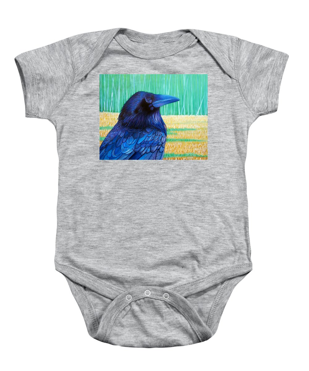 Raven Baby Onesie featuring the painting The Field Of Dreams by Brian Commerford