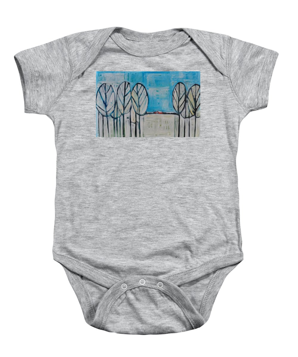 Snow Baby Onesie featuring the painting The First Snow by Tim Nyberg