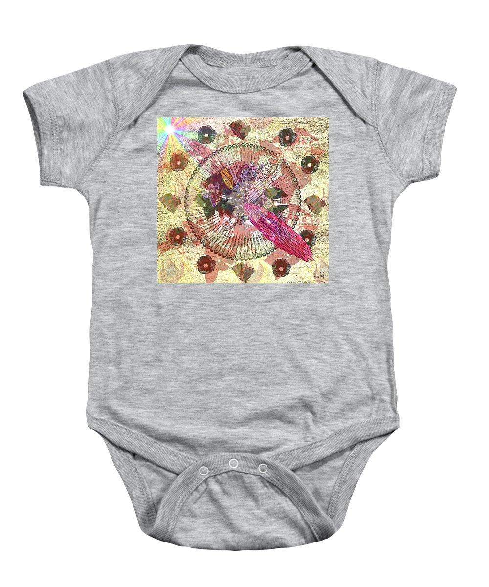 Flowers Baby Onesie featuring the digital art The Flowerclock by Helmut Rottler