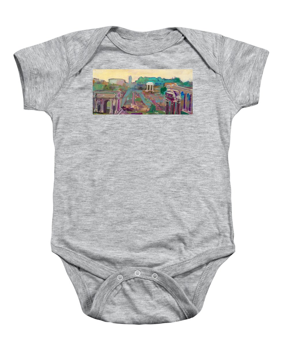 Rome Baby Onesie featuring the painting The Forum Romanum by Kurt Hausmann