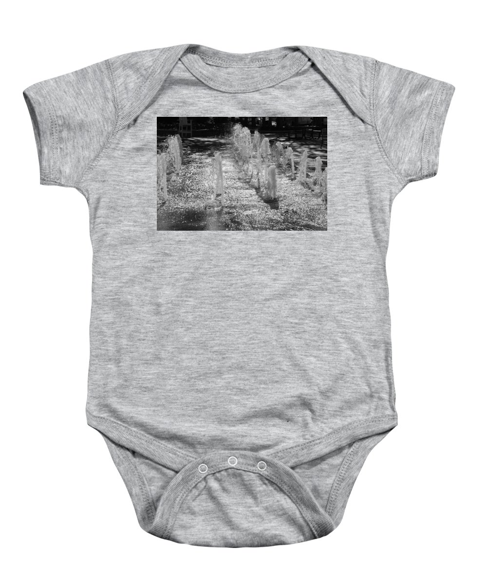 Black And White Baby Onesie featuring the photograph The Fountians Of Climatis by Rob Hans