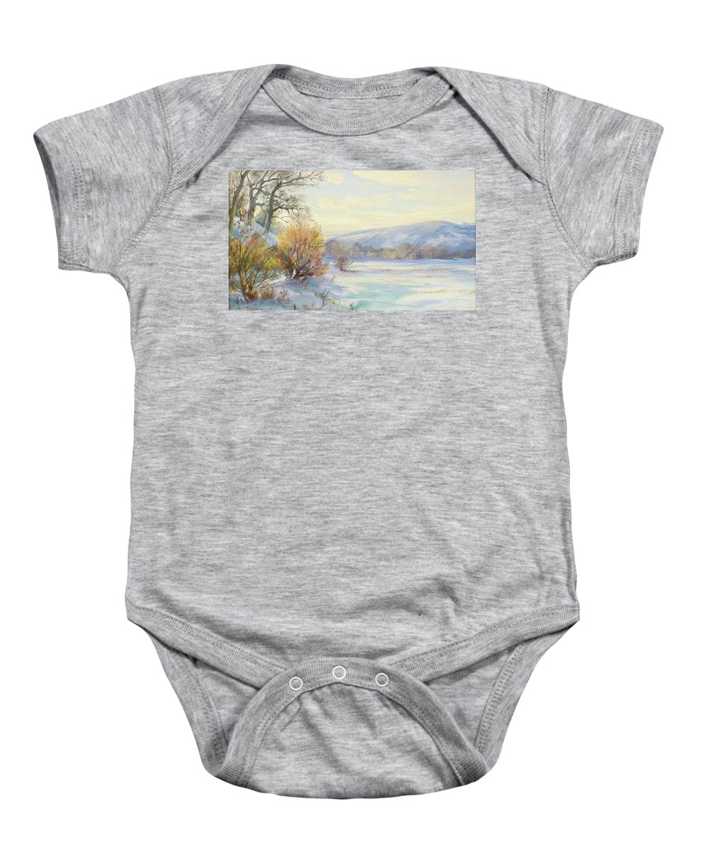 William Trost Richards 1833 - 1905 The Frozen Lake Baby Onesie featuring the painting The Frozen Lake by William Trost