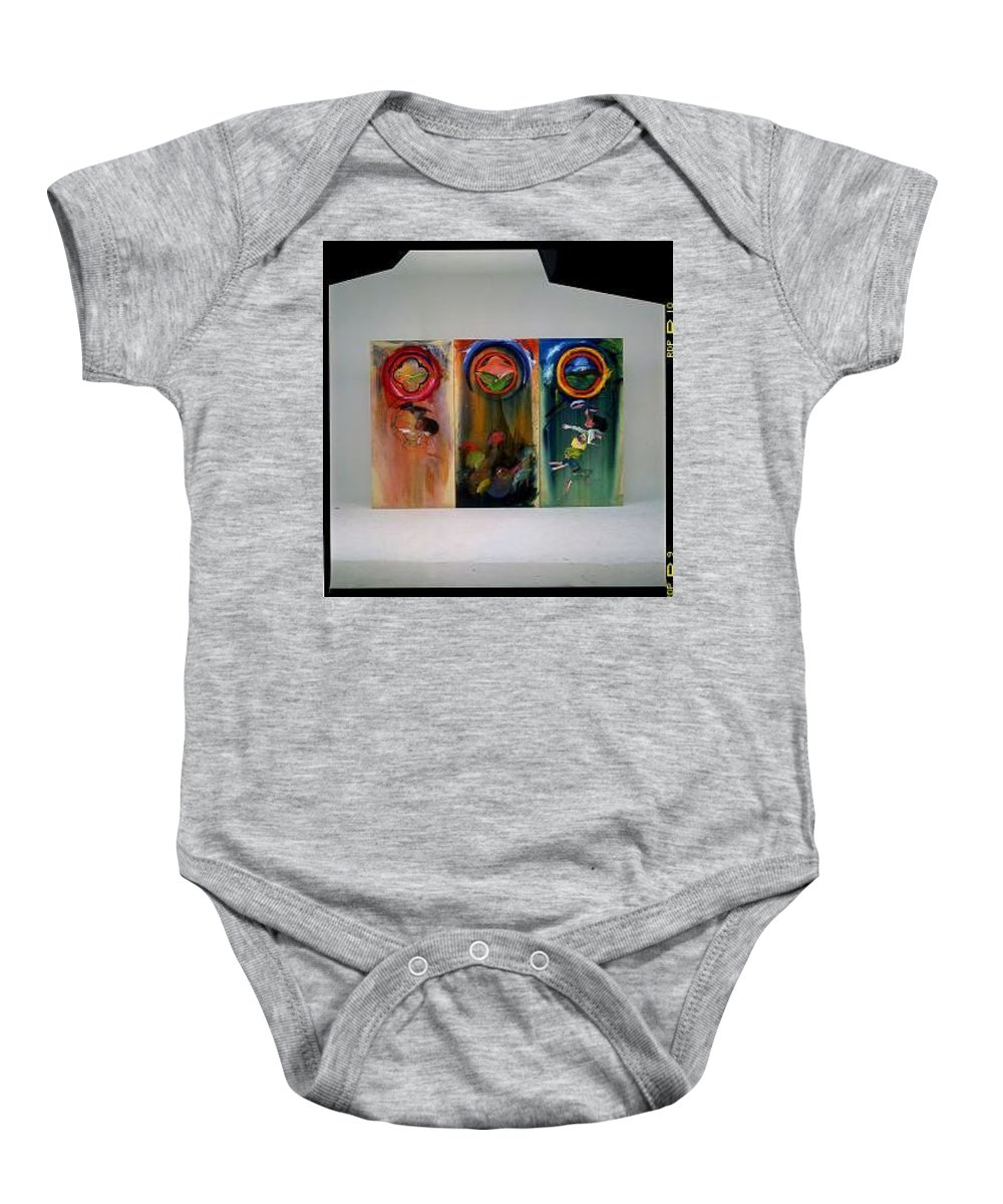 Fall From Grace Baby Onesie featuring the painting The Fruit Machine Stops by Charles Stuart