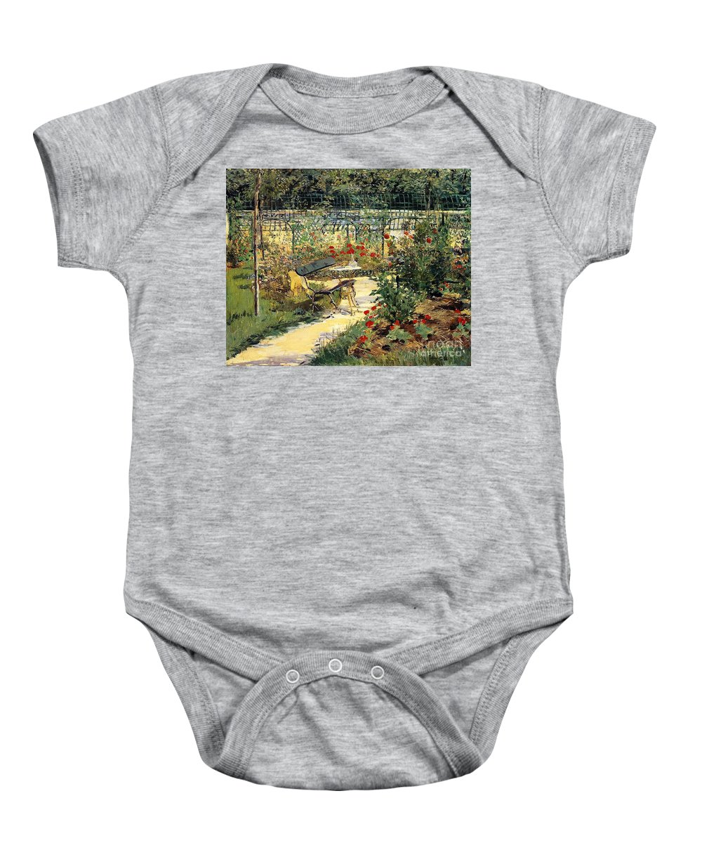 The Painter's Garden Baby Onesie featuring the painting The Garden Of Manet by Edouard Manet