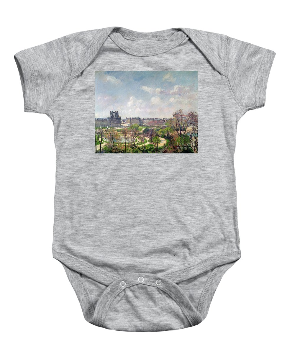 The Baby Onesie featuring the painting The Garden Of The Tuileries by Camille Pissarro