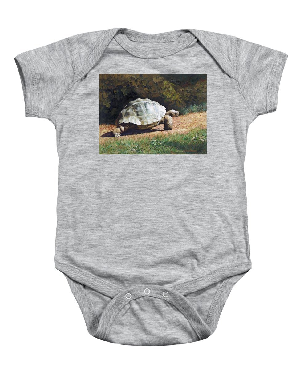 Turtle Baby Onesie featuring the painting The Giant Tortoise Is Walking by Svitozar Nenyuk