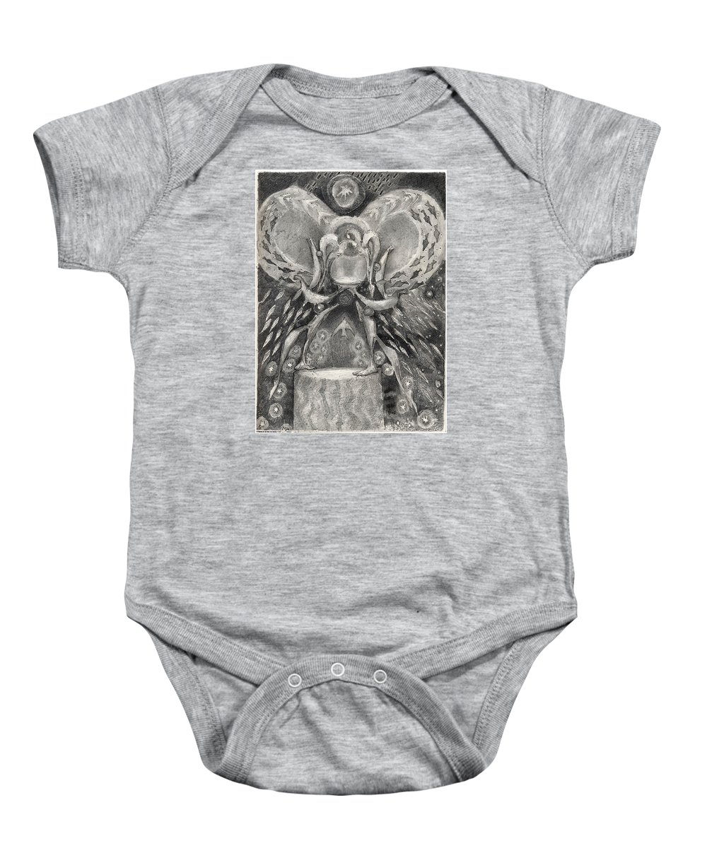 The Gift Baby Onesie featuring the drawing The Gift II by Juel Grant
