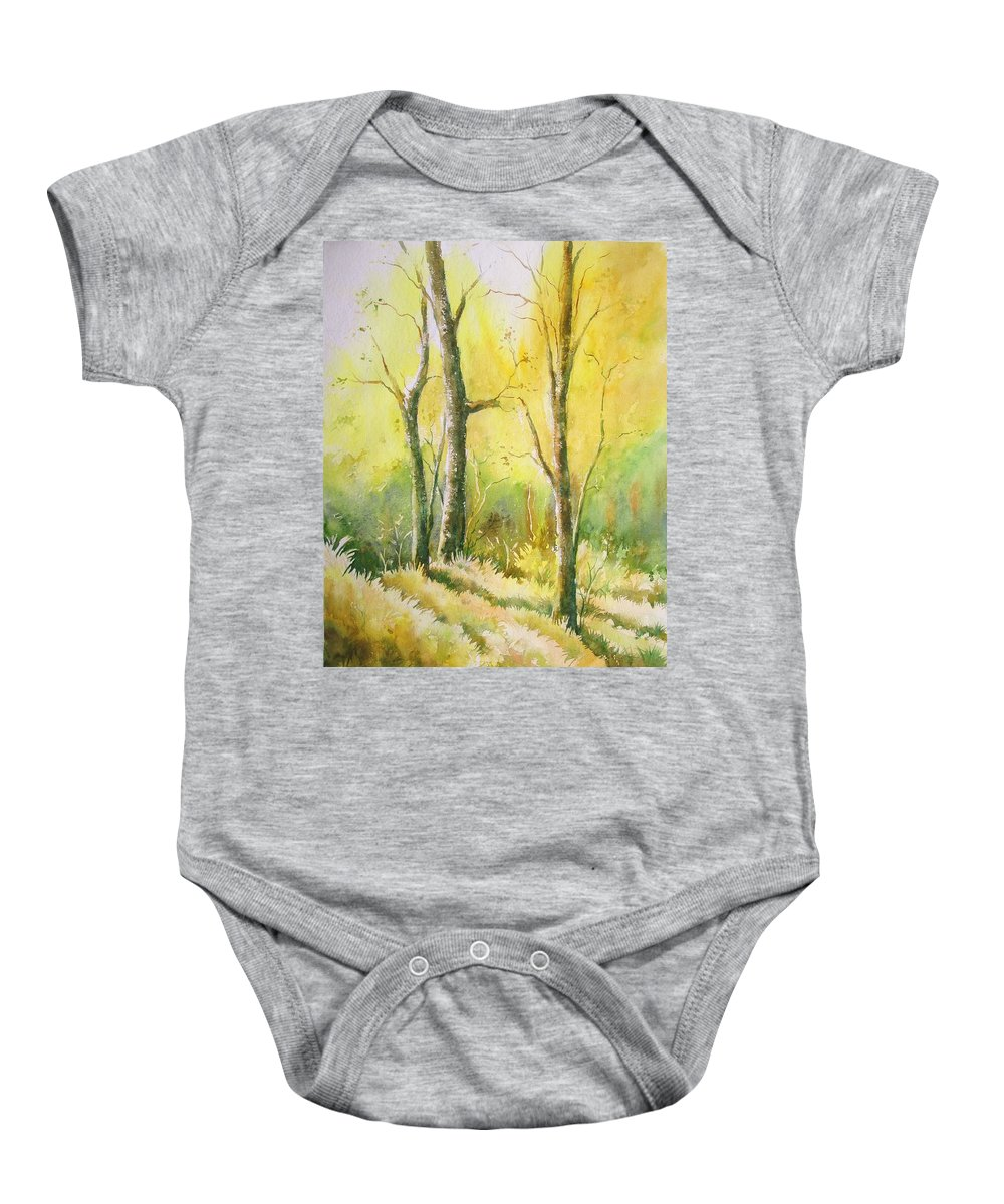 Landscapes Baby Onesie featuring the painting The Golden Trio by Sandeep Khedkar