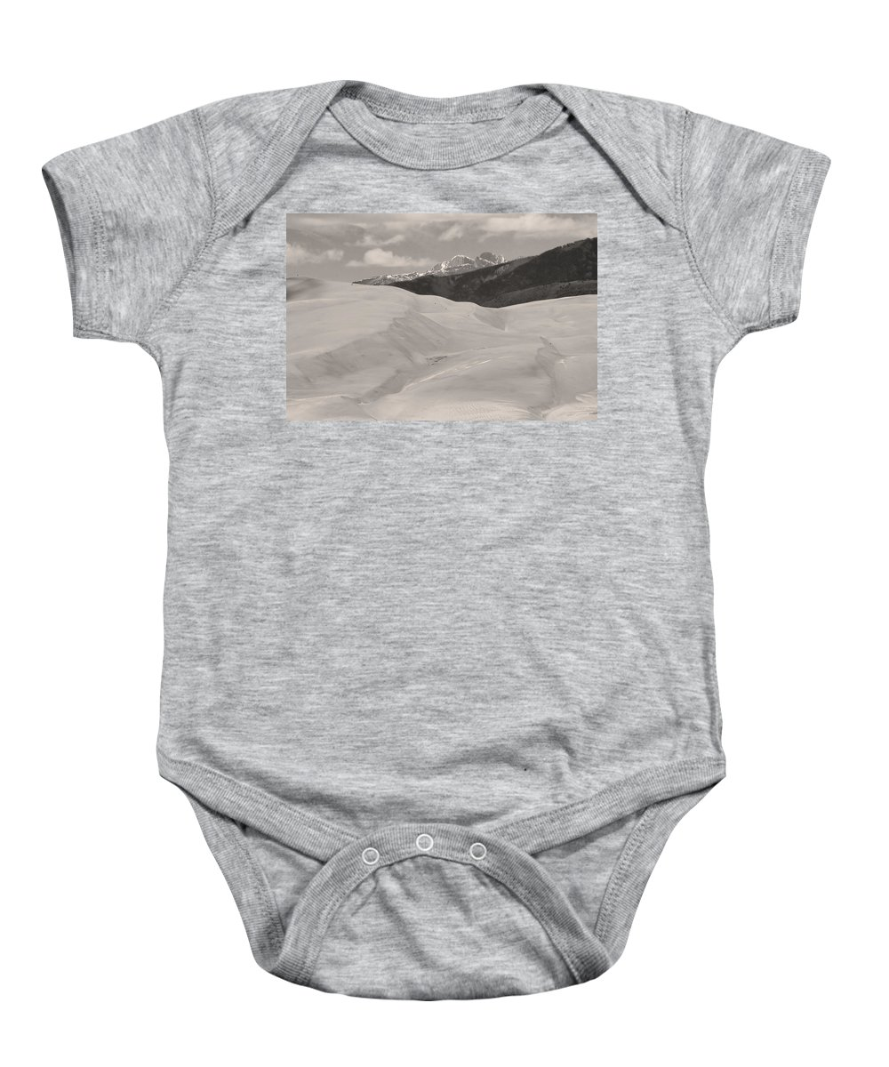 the Great Colorado Sand Dunes Baby Onesie featuring the photograph The Great Sand Dunes Bw Sepia by James BO Insogna