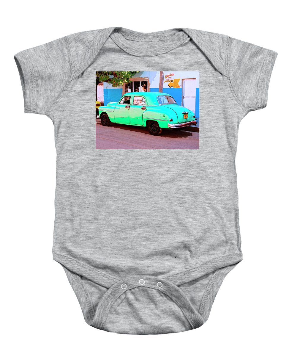 The Green Hornet Baby Onesie featuring the mixed media The Green Hornet by Dominic Piperata