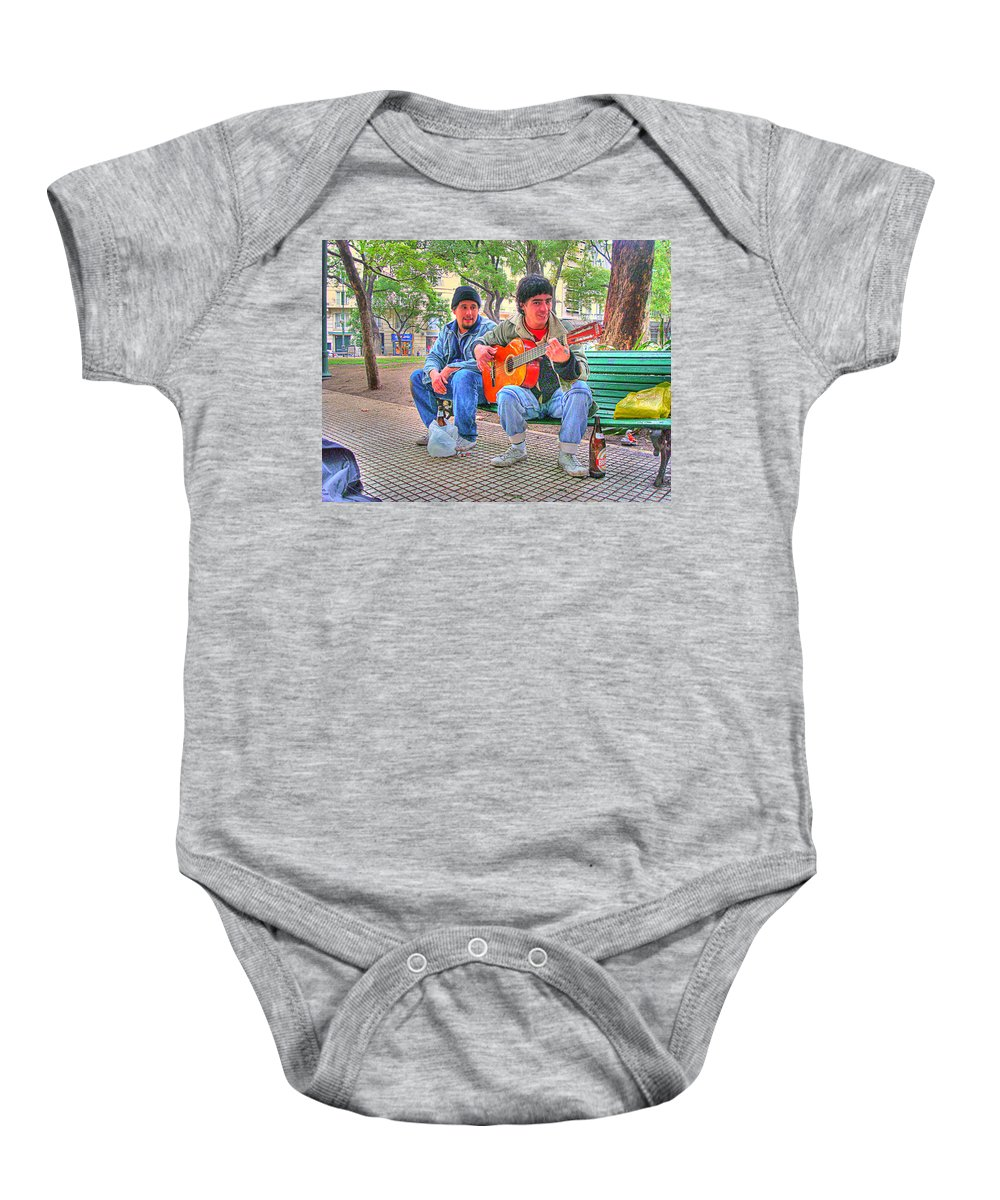 Park Baby Onesie featuring the photograph The Guitar by Francisco Colon