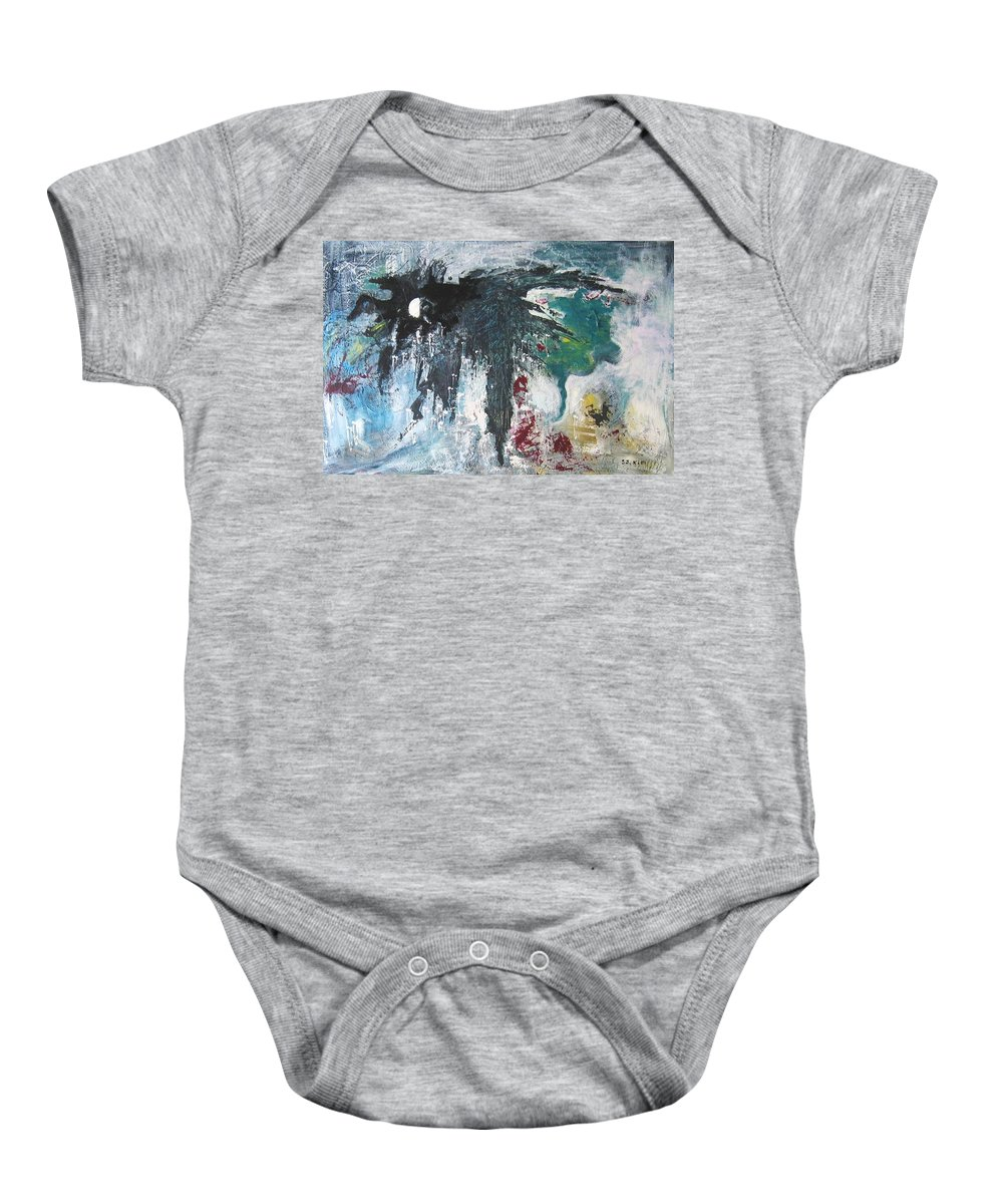 Abstract Paintings Baby Onesie featuring the painting The Half Moon by Seon-Jeong Kim