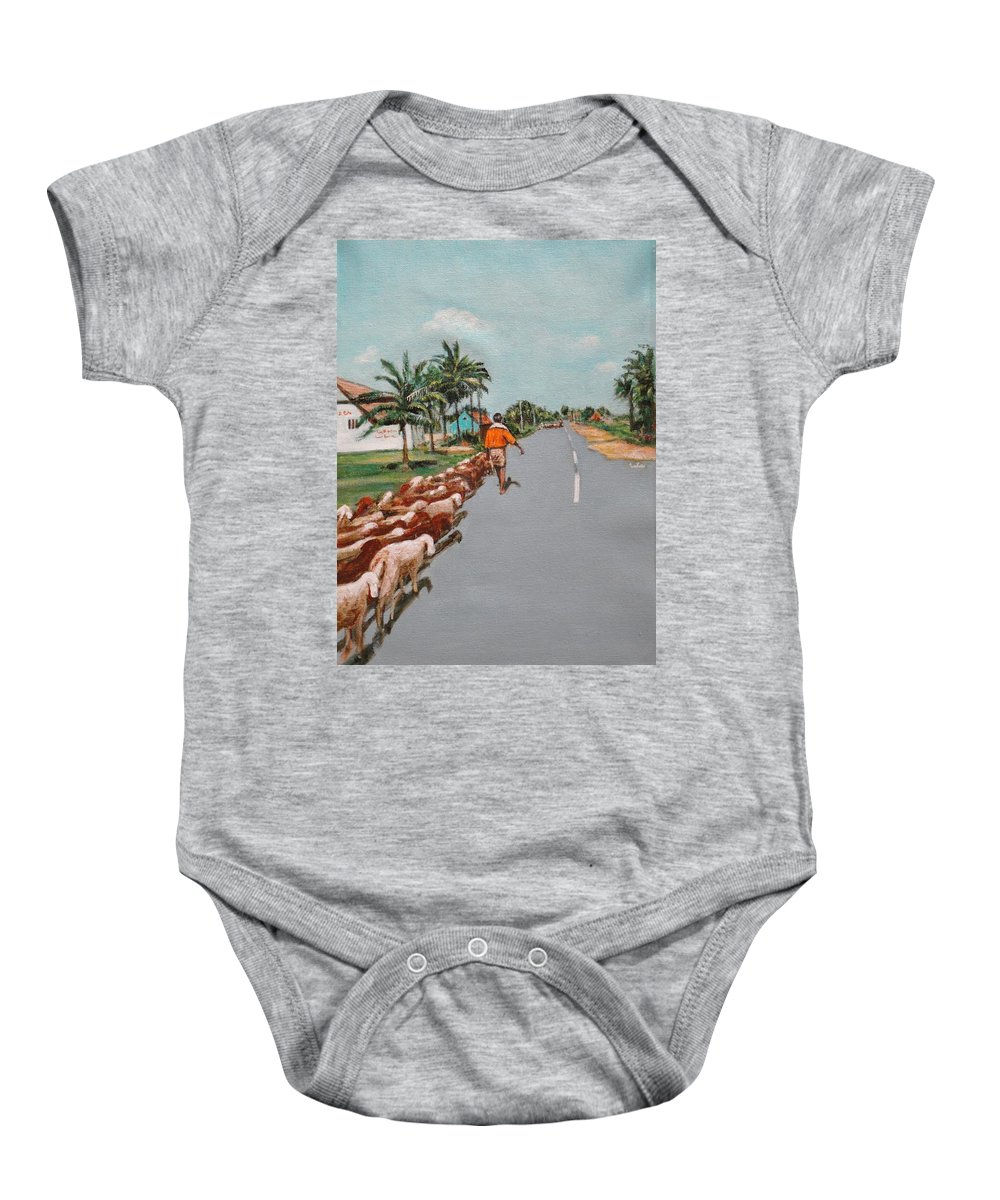 Baby Onesie featuring the painting The Herd 1 by Usha Shantharam