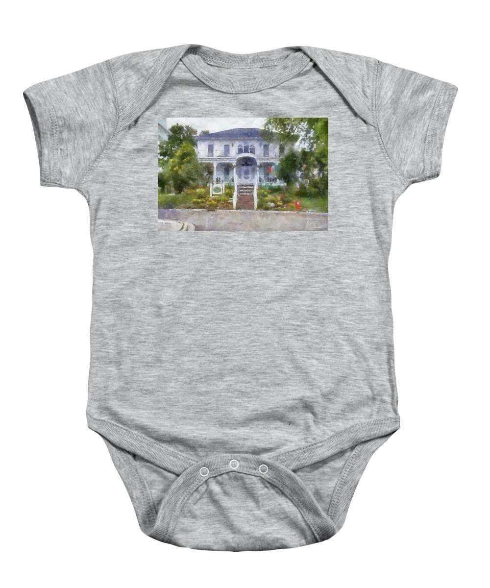 Mackinac Baby Onesie featuring the photograph The Homes Of Mackinac Island Michigan 04 Pa by Thomas Woolworth