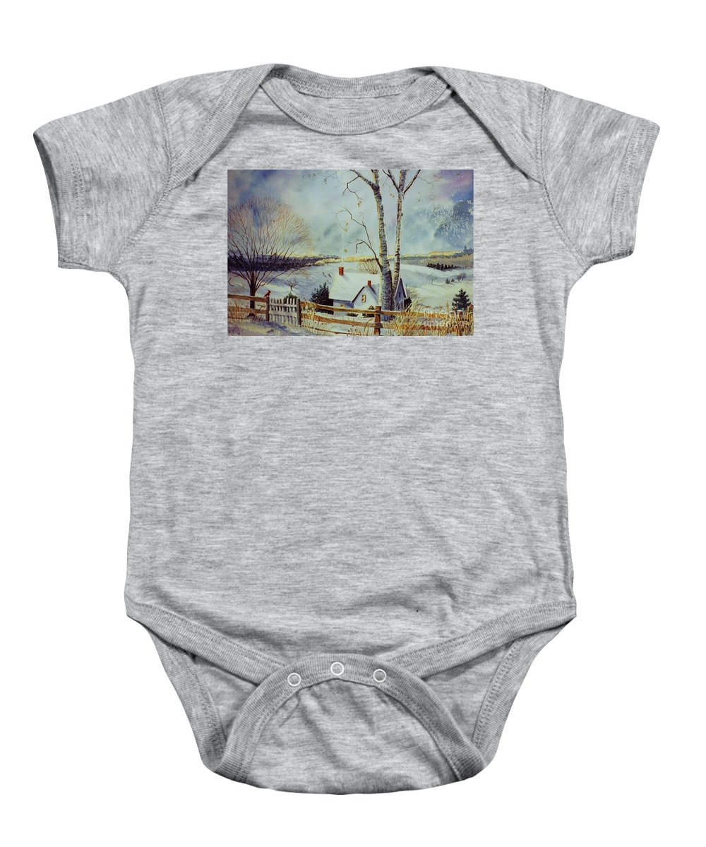 Winter Scene Baby Onesie featuring the painting The Homestead by Marilyn Smith