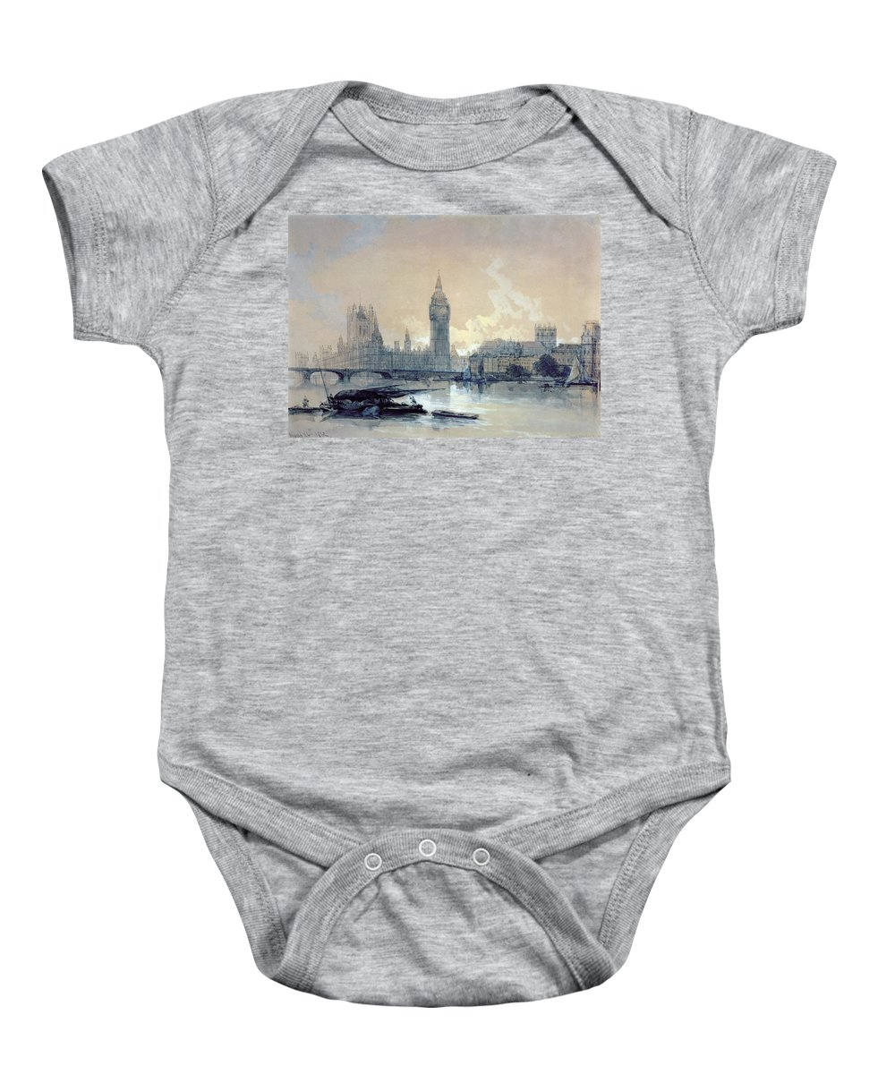 The Baby Onesie featuring the painting The Houses Of Parliament by David Roberts