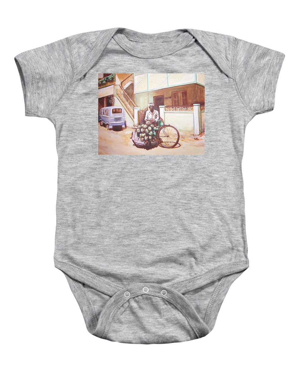 Usha Baby Onesie featuring the painting The Indian Tendor-coconut Vendor by Usha Shantharam