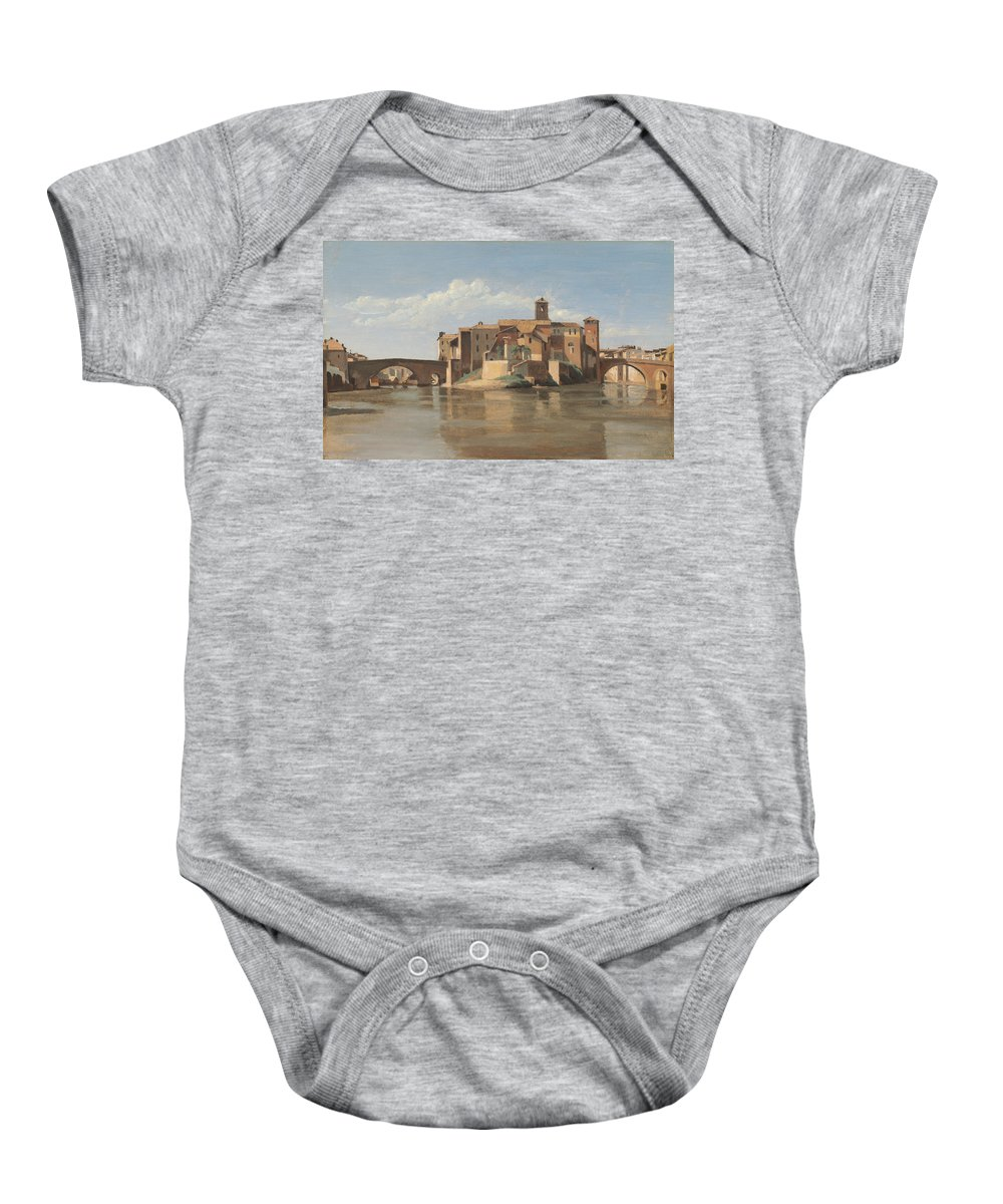 Jean-baptiste-camille Corot Baby Onesie featuring the painting The Island And Bridge Of San Bartolomeo - Rome by Jean-baptiste-camille Corot
