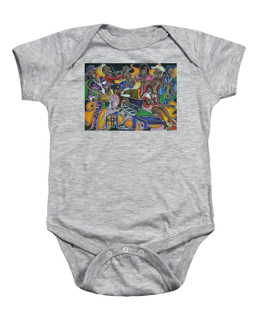 Music Baby Onesie featuring the painting The Jazz Orchestra by Anthony Hurt