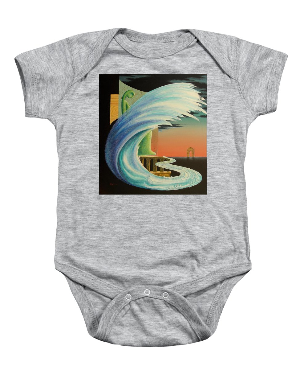 Romantic Baby Onesie featuring the painting The Journy-17 by Raju Bose