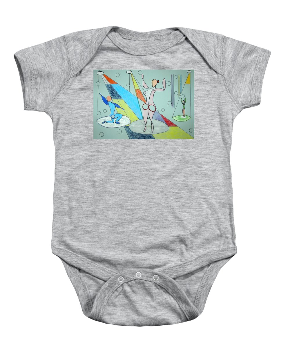 Juggling Baby Onesie featuring the drawing The Jugglers by J R Seymour