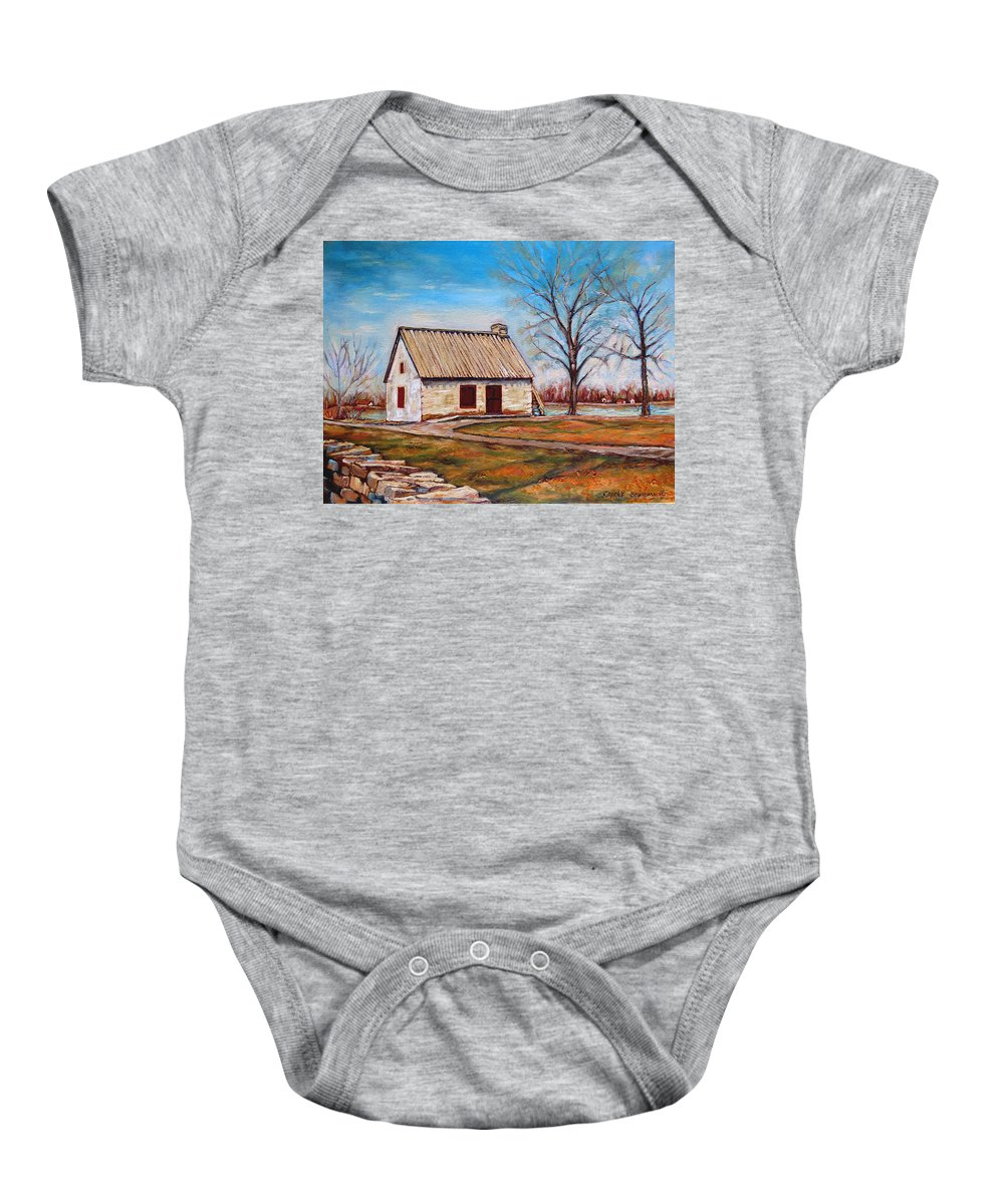 Ile Perrot Baby Onesie featuring the painting The Lake House by Carole Spandau
