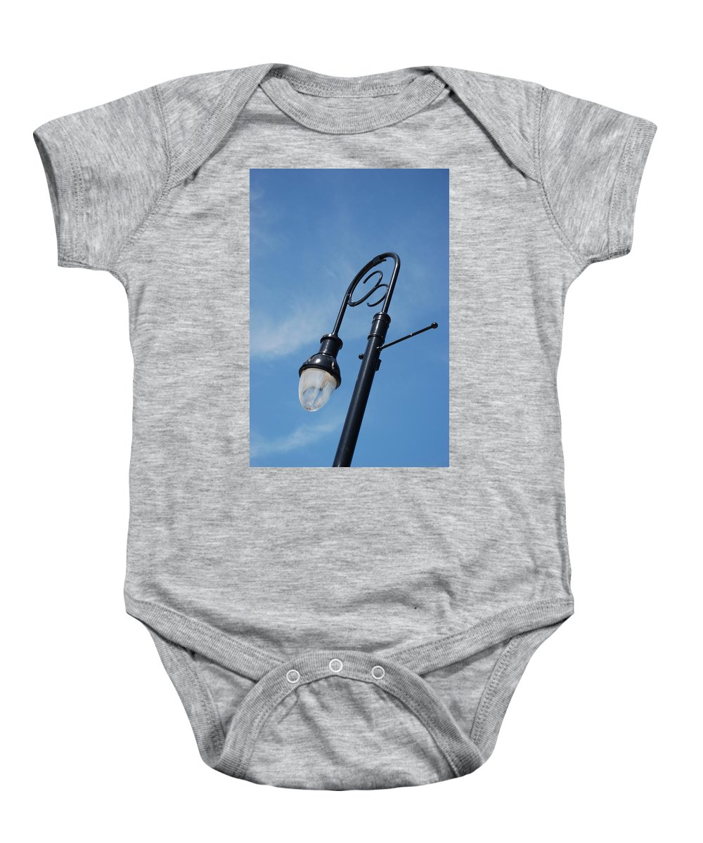 Blue Sky Baby Onesie featuring the photograph The Lamp Post by Rob Hans